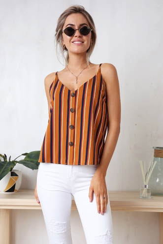 Iris Top - Brown Stripe