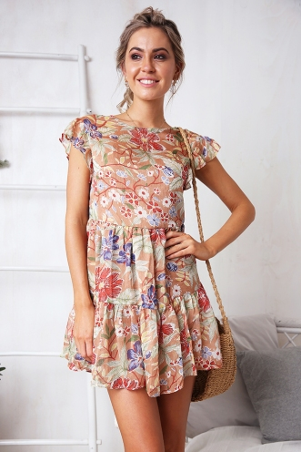 One Step Dress - Mocha Print