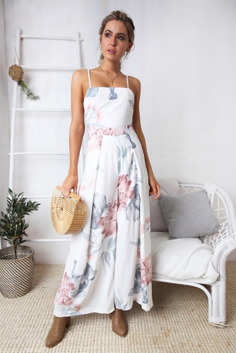 Logan Jumpsuit - White Floral