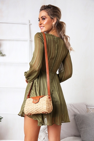 Broken Promises Dress - Khaki Stripe