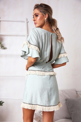 Kaitlin Dress - Sage Tassel