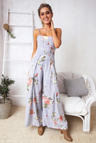 Spirit Walker Jumpsuit - Pin Stripe Floral
