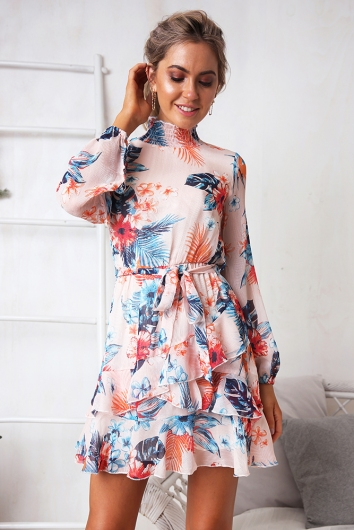 Peaches Dress Pink Tropical