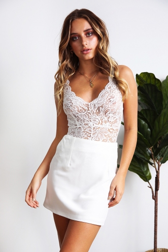Kailee Bodysuit - White Lace