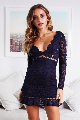 Lighter Times Dress - Navy lace