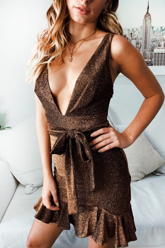 Annaliza Dress - Gold Shimmer
