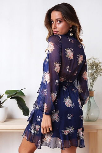 Peaches Dress - Navy Floral