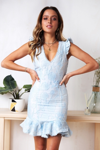 As The Sun Goes Down Dress - Light Blue