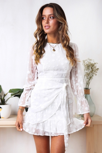 Kayla Dress - White Spot