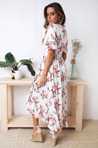 Brigid Dress - White Floral