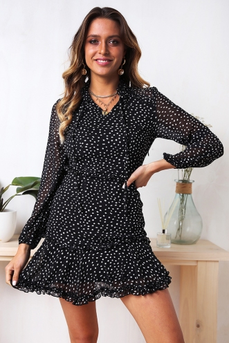 Janine Dress - Black Print