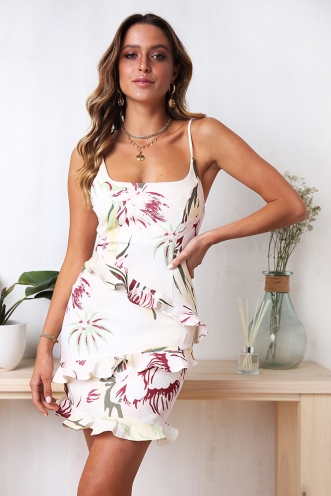 Love Delay Dress - Nude Print