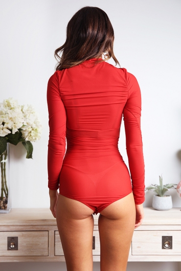 Looking At You Bodysuit - Red