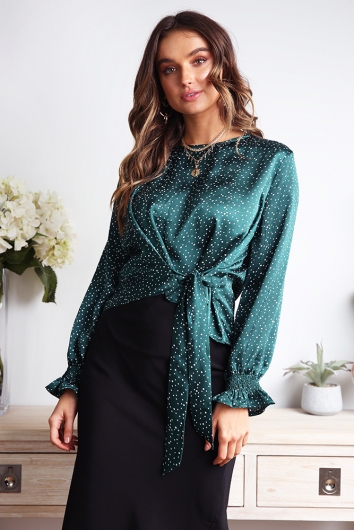 Briony Top - Green/White Spot