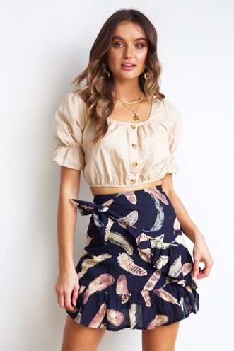 Born To Try Skirt - Navy Print
