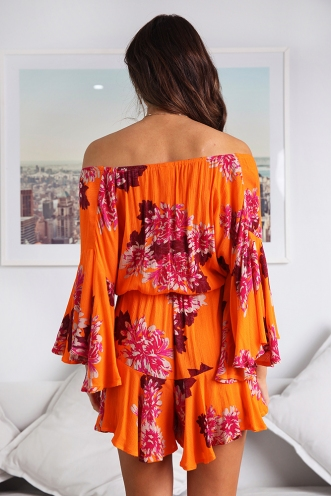 Emelia Playsuit - Orange Print