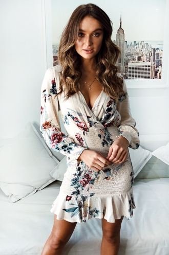 Night and Day Dress - Beige Floral