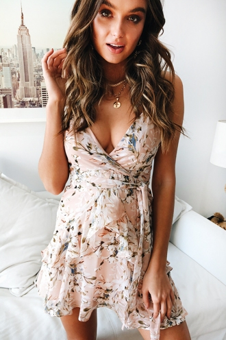 Fly With Me Dress -Nude Floral