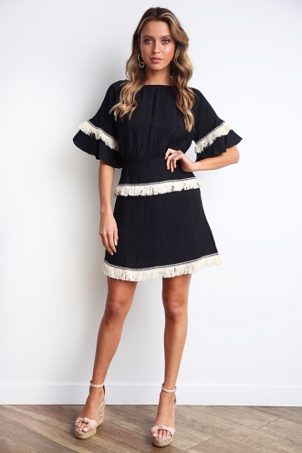 Kaitlin Dress - Black Tassel