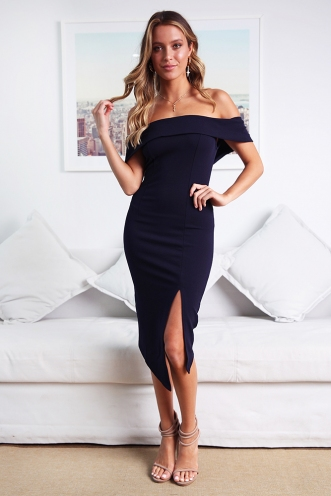 Renata off the shoulder dress - Navy