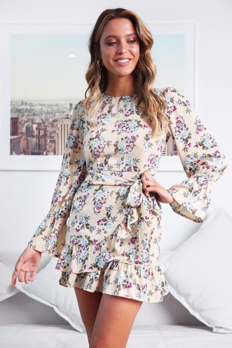 Kayla Dress - Nude Floral