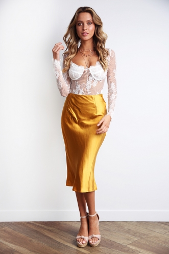 Rebel Just For Kicks Skirt - Golden Mustard