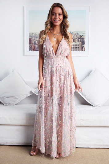 Move It and Shake It Dress - Blush Sequin