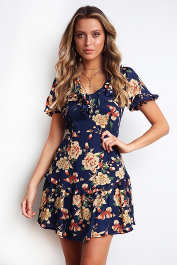 Aysha Dress - Navy Print
