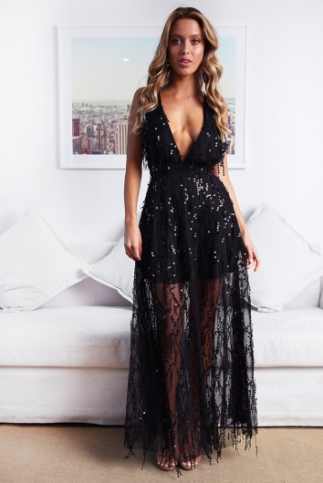 Move It and Shake It Dress - Black Sequin