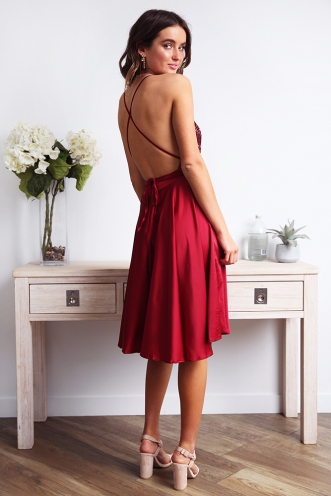 Lisiane Dress - Maroon