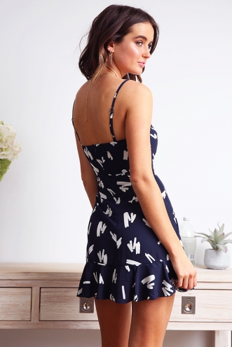 Applebloom Dress - Navy Scribble