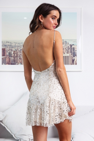 Deni Dress - Nude Sequin