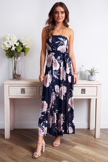 First Class Jumpsuit - Navy Print