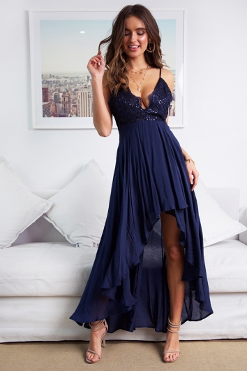 By The Candlelight Dress - Navy