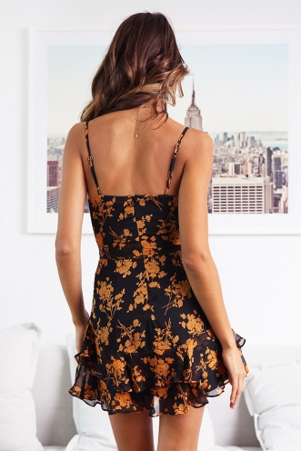 Fly With Me Dress - Black/Orange Flower