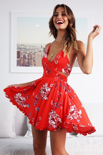 Samba Sensation Dress - Red Print