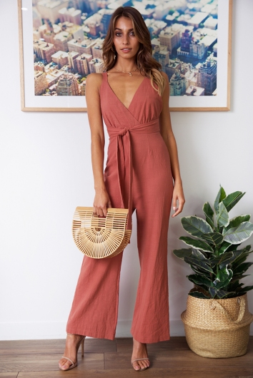 Sun Soaked Jumpsuit - Tan