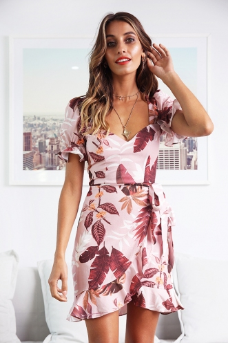 Gigi Dress - Pink/Brown Print
