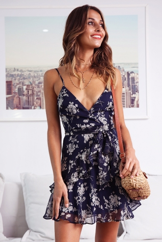 Fly With Me Dress - Navy/White Flower
