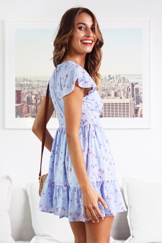 Blissful Days Dress - Blue Print