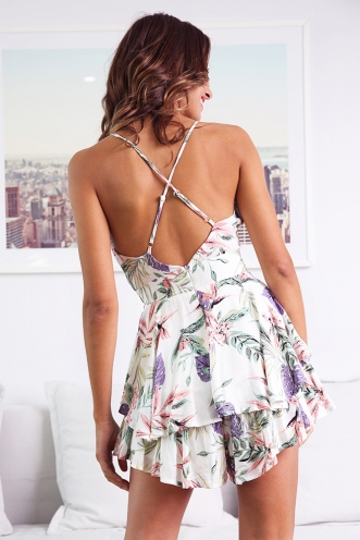 All Figured Out Playsuit - White Print