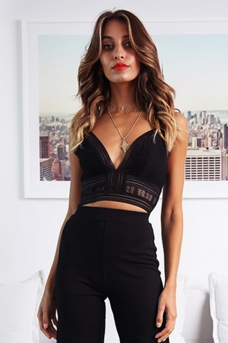 Fall For Love Crop Top - Black