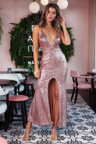 Evening Antics Dress - Rose Gold Sequin