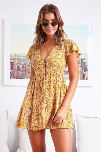 Blissful Days Spring Dress - Mustard Print