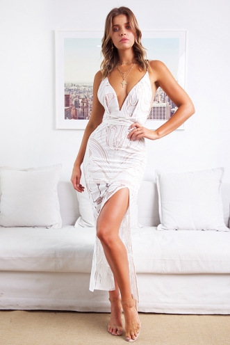 Believe in Miracles Dress - White/Beige