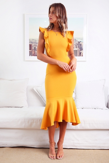 Make An Entrance Dress- Mustard