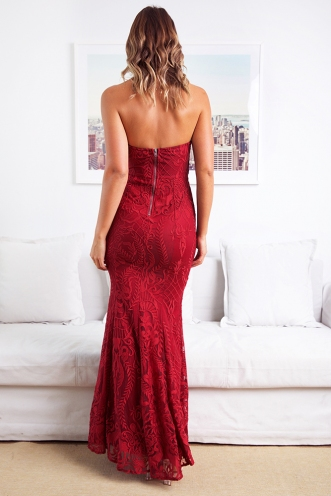 Grand Ballroom Dress - Maroon Lace