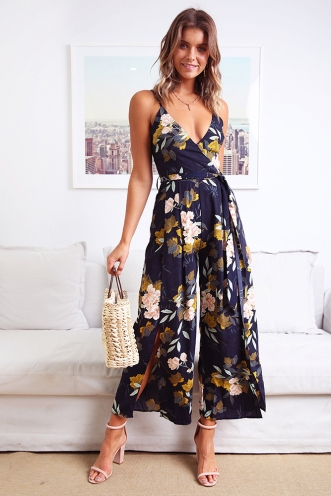 Holiday Destination Jumpsuit - Navy Print