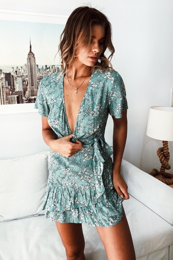 Had It All Dress - Light Green Print