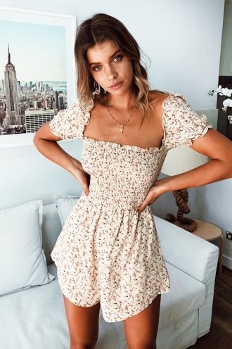 Everyday Girl Playsuit - Beige Print